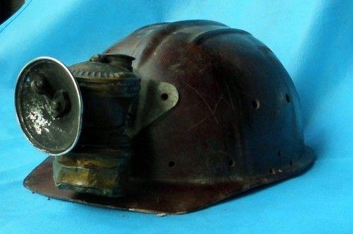 Old Miner Helmet Hat Pitman Miner S Brass Lamp Usa