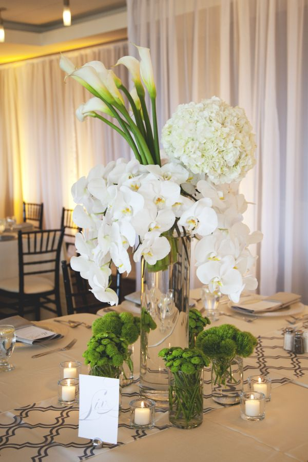 White hydrangea orchid and calla lily centerpiece