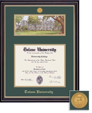 Framing Success Prestige Mdl BA Diploma Litho Frame. Double Matted in Satin Black Finish, Gold Trim