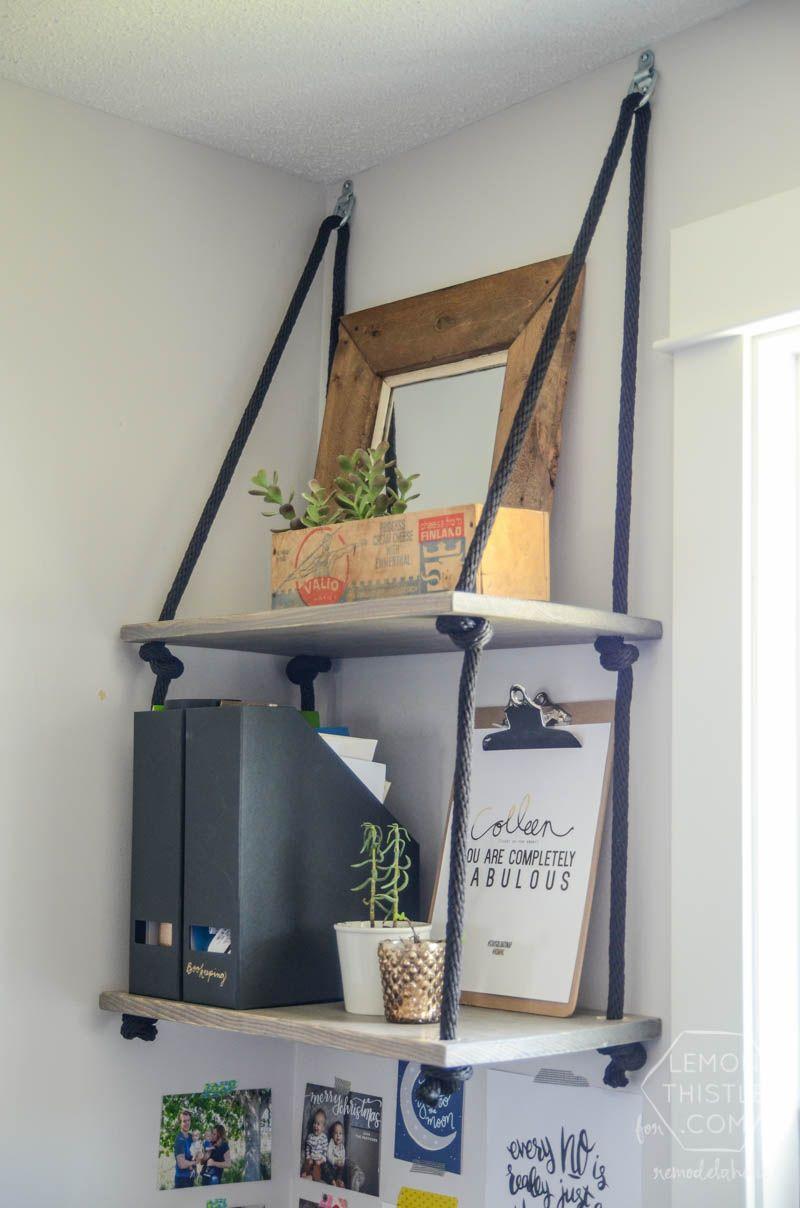 diy rope hanging shelves proyectos que intentar. Black Bedroom Furniture Sets. Home Design Ideas