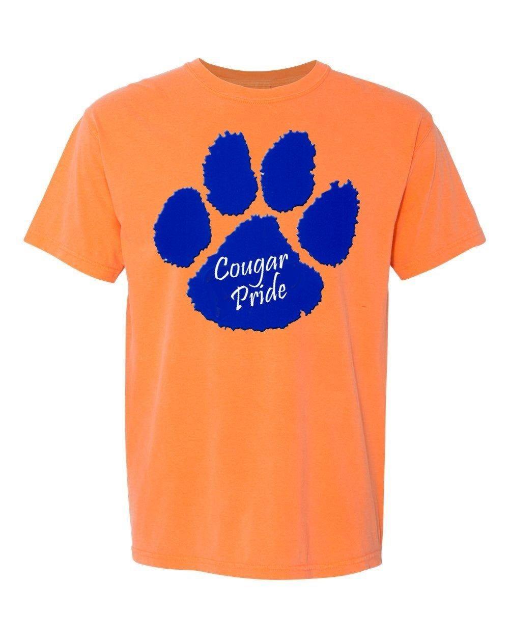 Custom School Spirit Shirt Pride Paw Cougars Comfort Colors