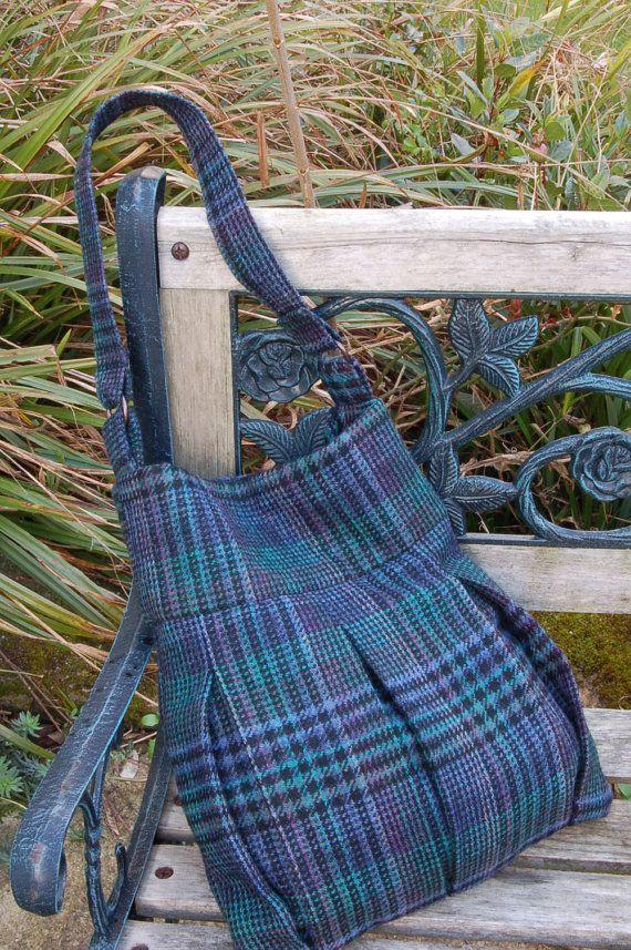 df40fe5369bf Tweed Woollen Shoulder Bag Blue   Purple by VickyMyersCreations ...