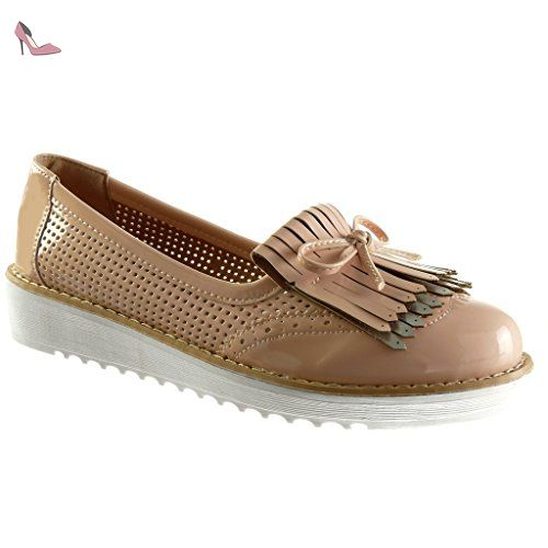 Angkorly - Chaussure Mode Mocassin slip-on plateforme femme frange noeud  résille Talon compensé plateforme 4b17805dae2e