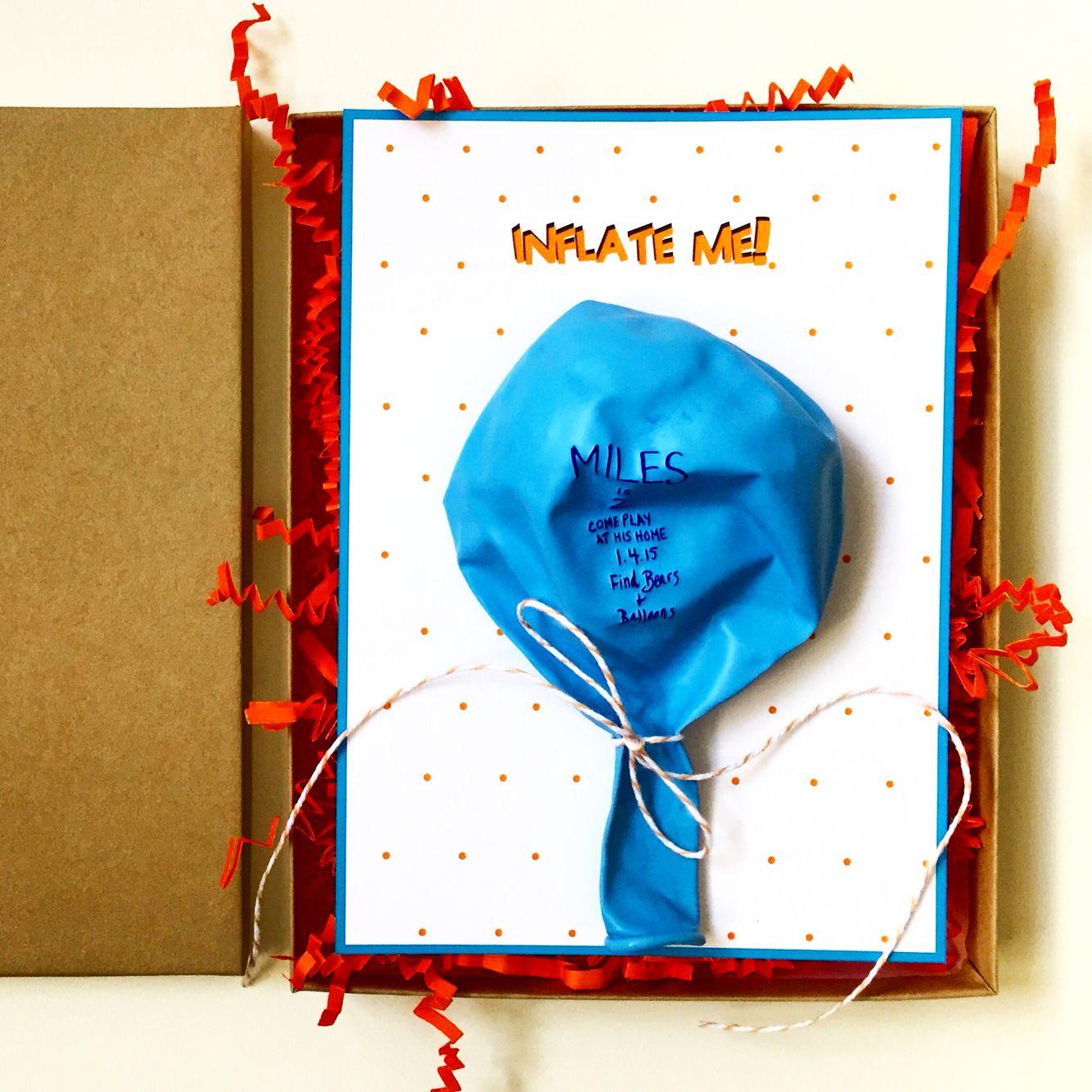 Birthday Invitation Box Inflate Me Balloon Party Marissa