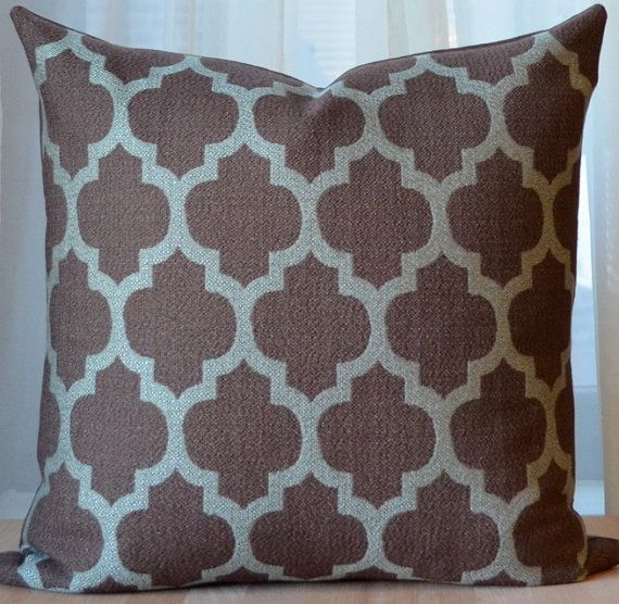 Brown Pillow, Moroccan Pillow, Modern Throw Pillow, Decorative, Blue, Quatrefoil, Trellis Pillow ...