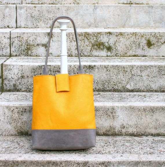Yellow gray leather tote bag