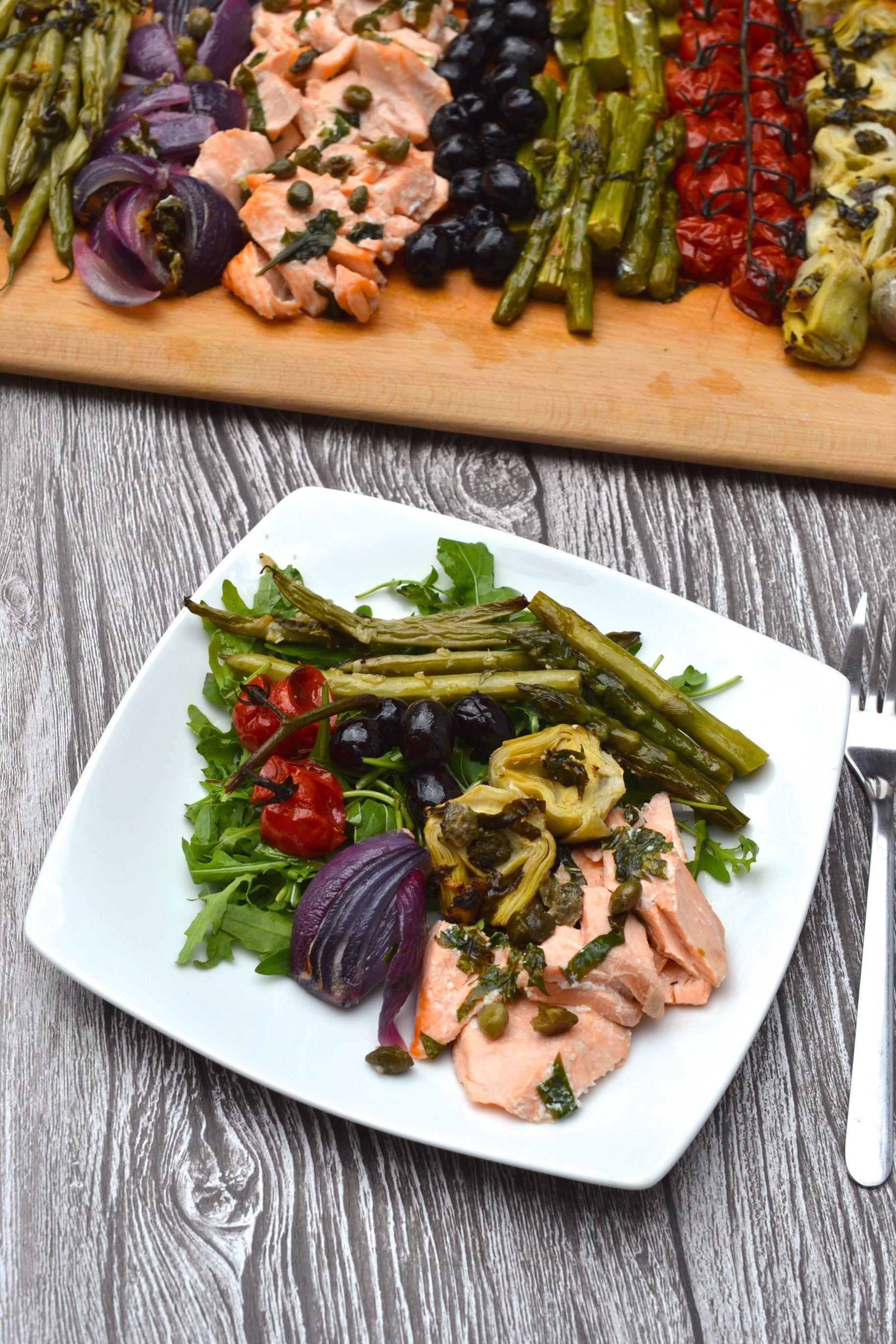 Salmon Nicoise Traybake Recipe Recipes To Try Nicoise Salad