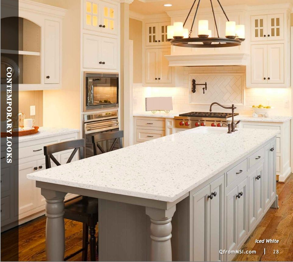 Q from MSI quartz countertop - iced white. Cream Colored KitchensWhite  KitchensCream Colored Kitchen CabinetsColor Kitchen CabinetsKitchen ...