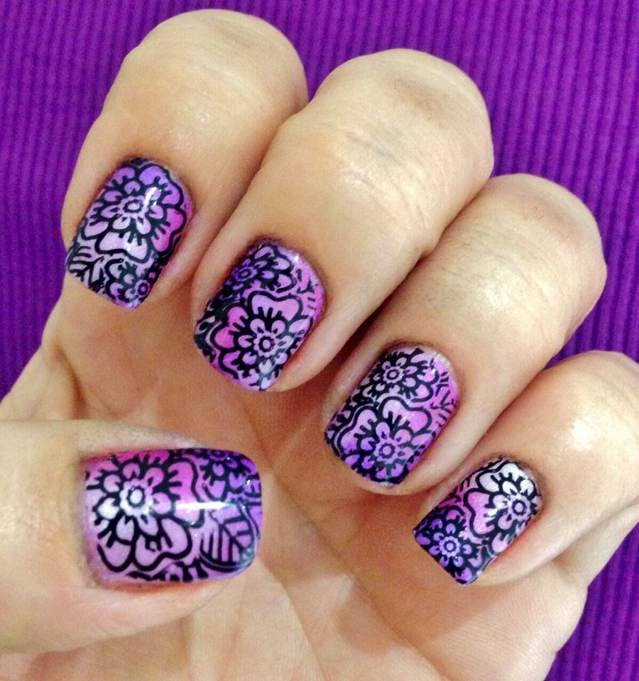 Pinkwhite And Purple Additives On Shellac Nails With Moyou London