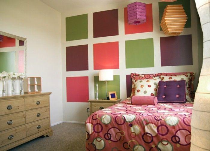 schlafzimmer einrichten bunte wandgestaltung und frische muster - teppichboden für schlafzimmer