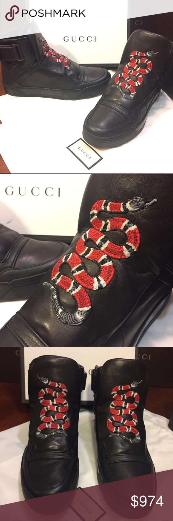 540f97ac0 NEW Gucci Coral Snake Appliqué High Top Sneakers. NEW Gucci Black Leather High  Top Sneakers