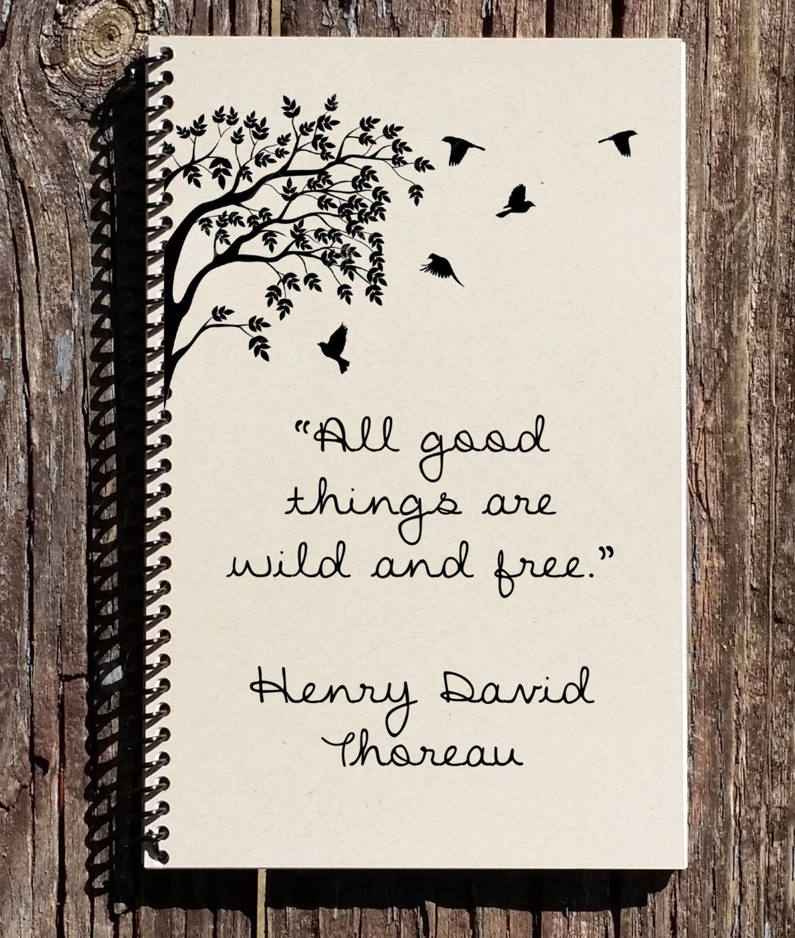 Photo of All Good Things Are Wild and Free – Henry Thoreau Quote – Thoreau Notebook – Thoreau Journal – Bird