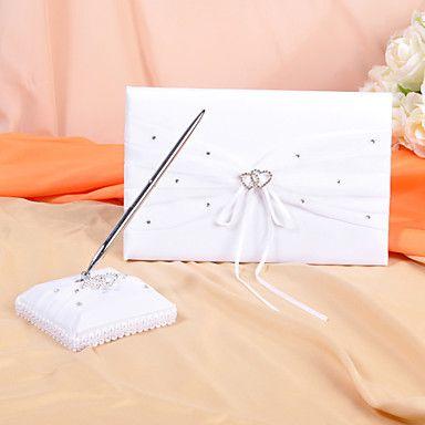 bröllop gästbok och penna som i vitt satin med rhinestone detaljer – SEK Kr. 181
