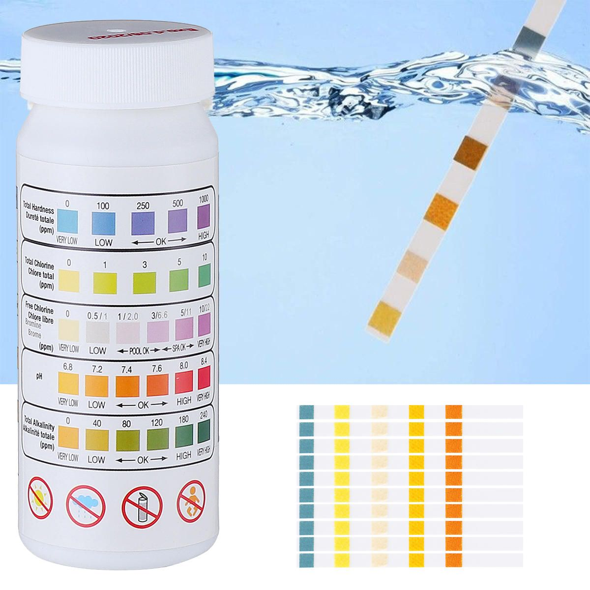 US8.30 50Pcs Swimming Pool Spa Water Test Strips Chlorine