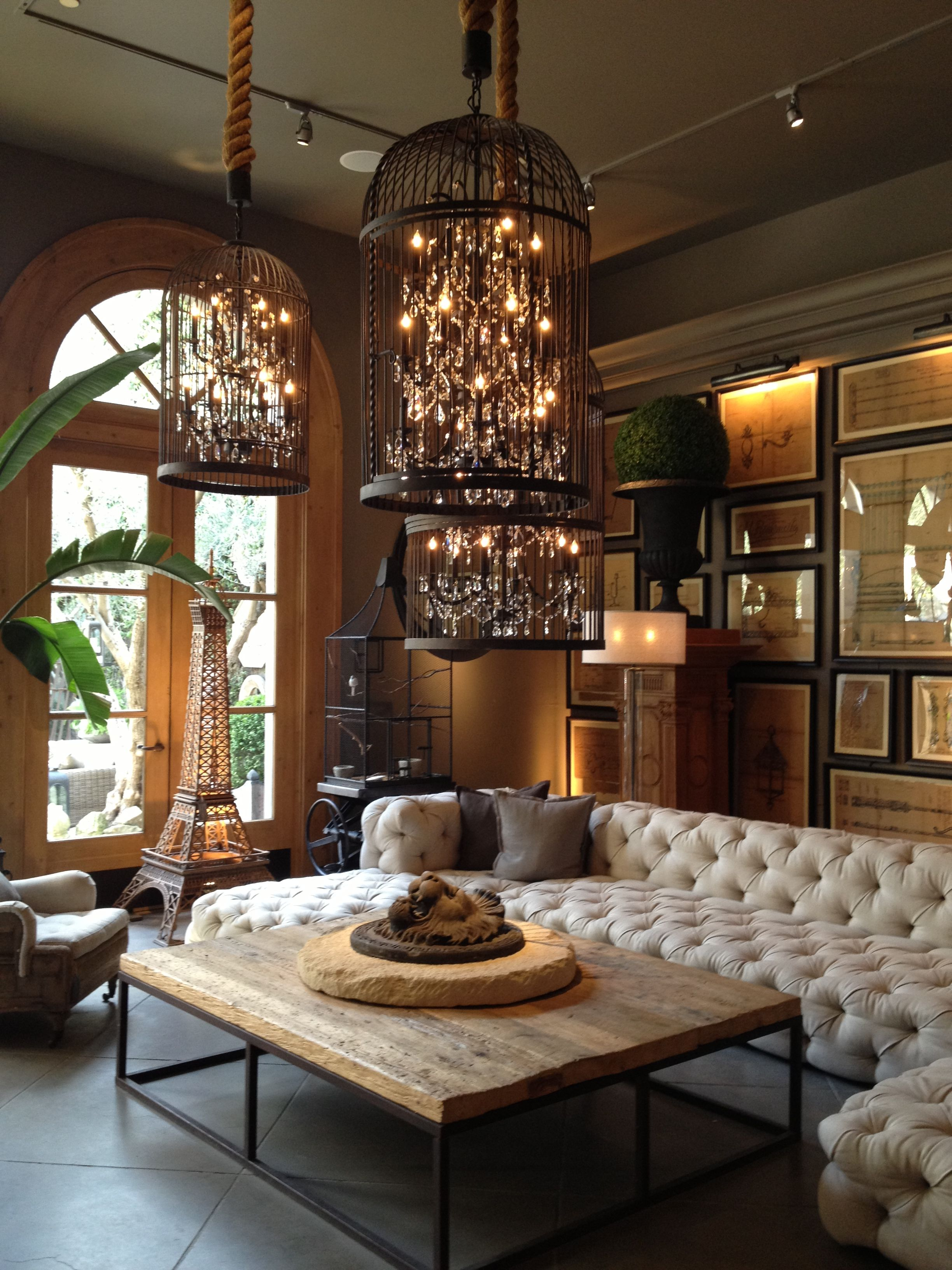 Birdcage light fixture lets decorate the home pinterest stunning rustic living room with birdcage chandeliers at dansk arubaitofo Images