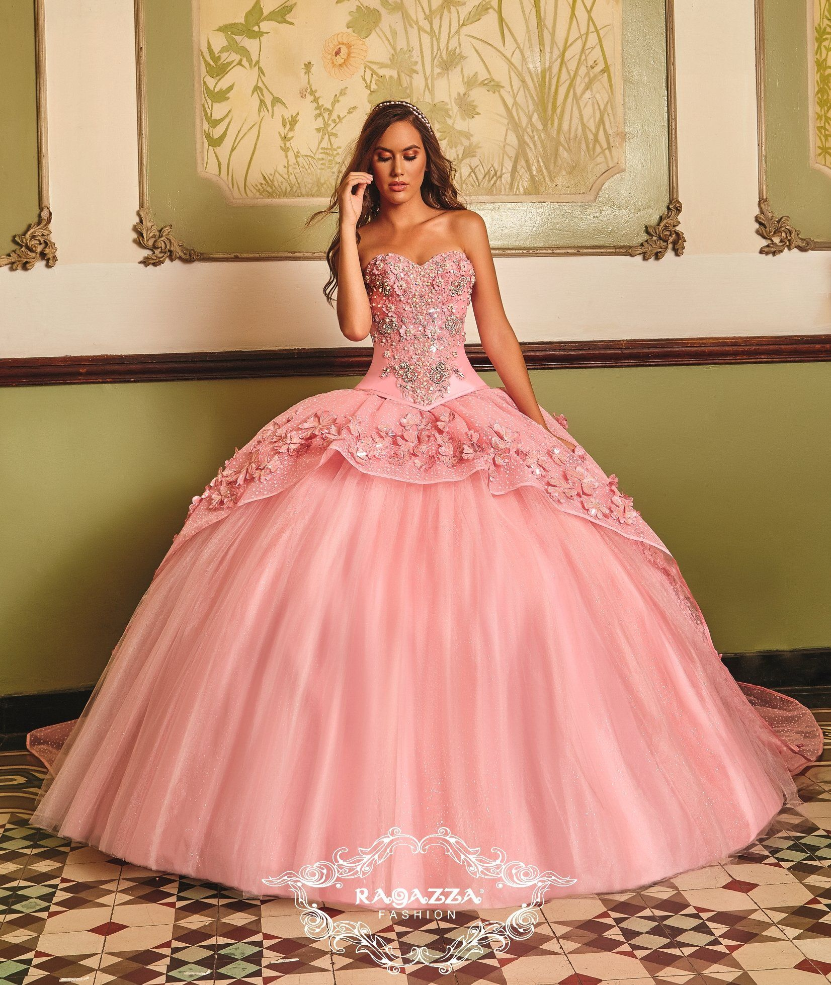 Floral Appliqued Quinceanera Dress by Ragazza Fashion B83-383 ...