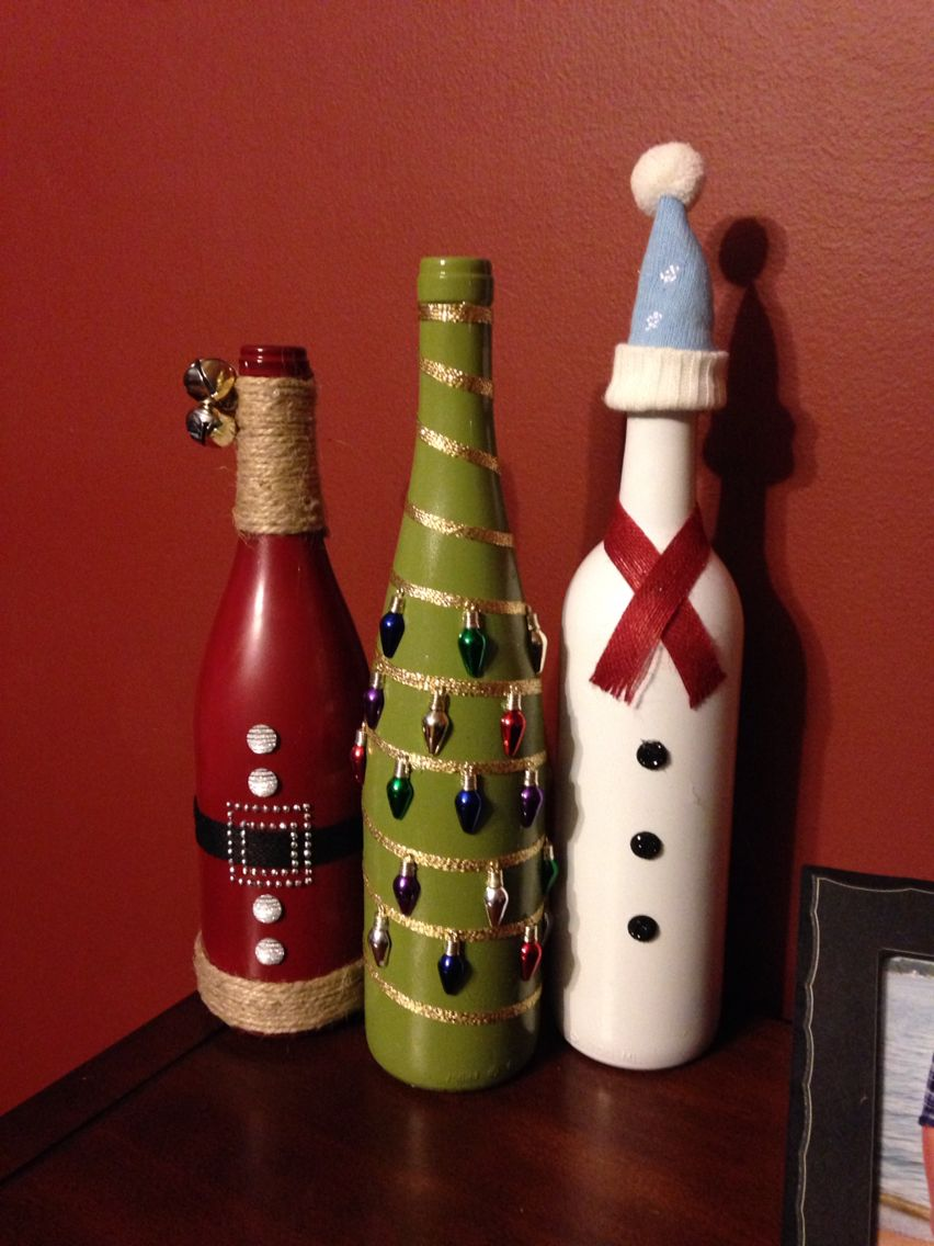 Christmas wine bottle craft christmas pinterest for Holiday wine glass crafts