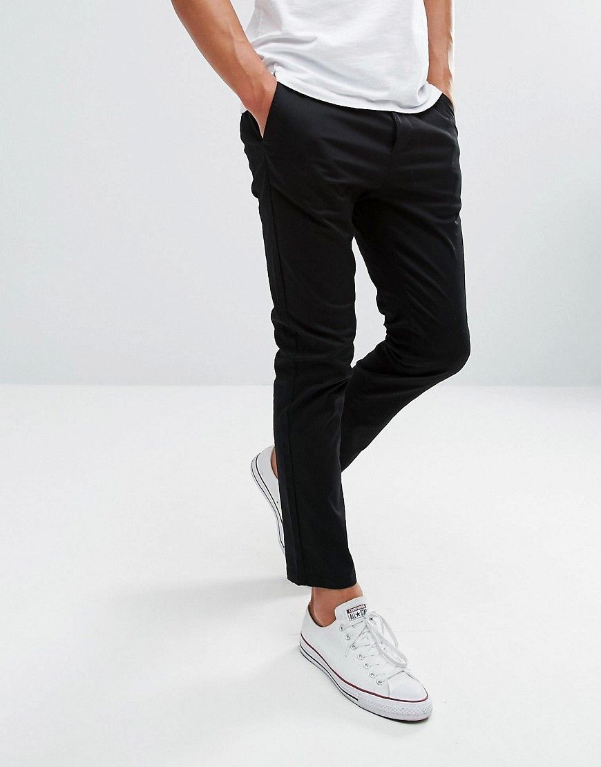 ffc89ddc84fd DESIGN skinny cropped chinos in black in 2019   Clothes   Cropped ...