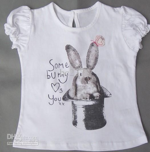 European Brand Girls T-shirts Cute Cartoon Design White Color School ...
