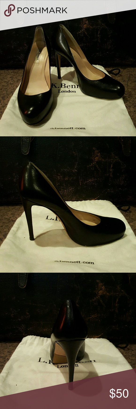 L.K. Bennett Stilletos Cute black Stilletos. Nice shape, textured sole. Includes dust bag, made in Spain. L.K. Bennett  Shoes Heels