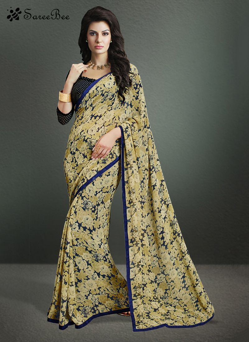Women fashion saree majesty print work georgette casual saree for more information
