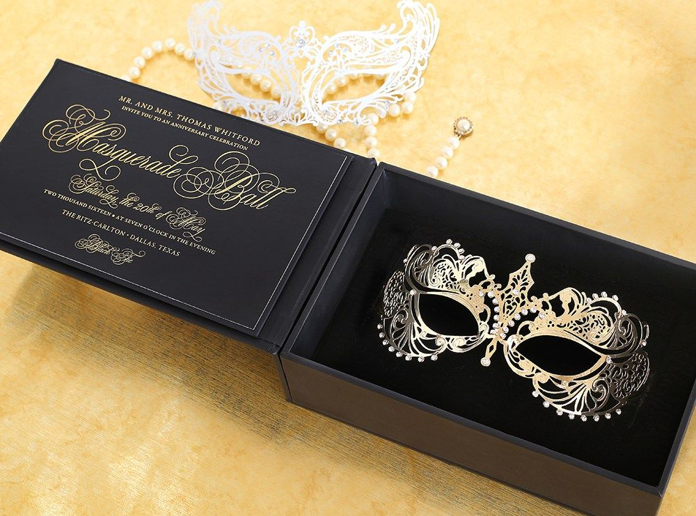 Masquerade 3d invitation by southern fried paper with custom box and gold metal mask sfp for Maquerade invitations