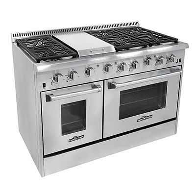 Finished In Stainless Steel This 48 Inch Gas Range Features Two Side By Ovens And 6 Burners With A Griddle The 30 Oven Has 4 2 Cubic Foot