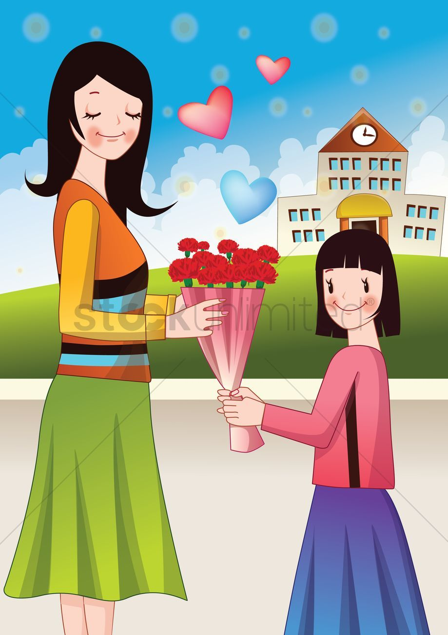 Girl giving a flower bouquet to mother stock vector , Aff