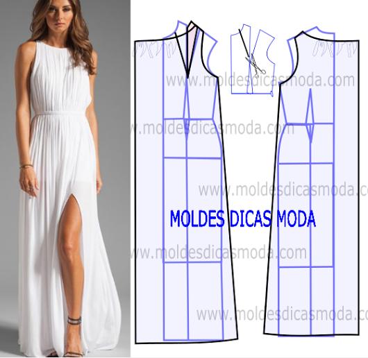 c419b1632b0e2b Vestido plissado comprido - Moldes Moda por Medida Kleding Patronen