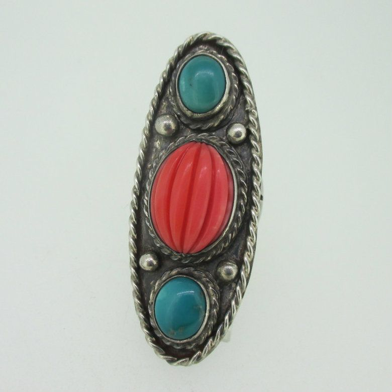Native American Indian Jewelry Sterling Silver Turquoise Coral Ring Size 8