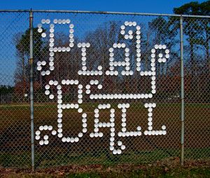 Cup In Fence Baseball Sign Fence Art Typography