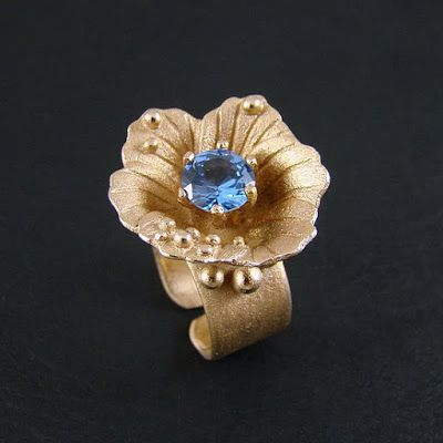 Srebrny Kot - ring - Blue eye - goldie bronze clay