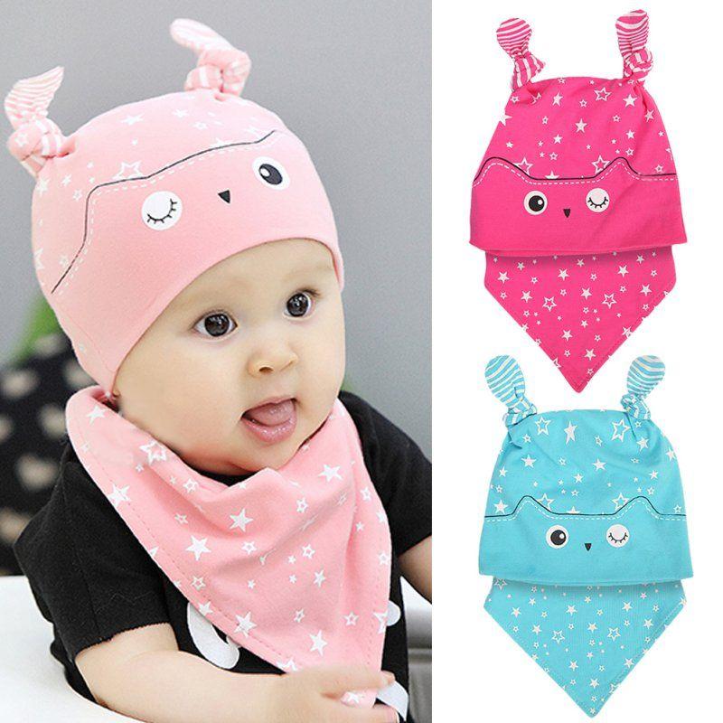 fcb84106ad1 Click to Buy    Cute Child Head Scarf Set Baby Boys Girls Sleep Hat +Saliva  Towel Triangle Cap Scarf Set S01  Affiliate