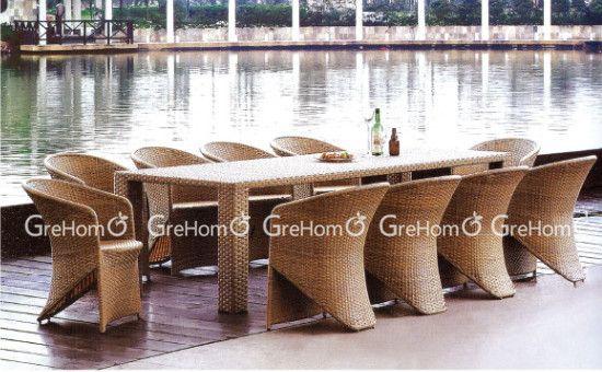Outdoor jardín rattan ronda muebles mesa comedor de 10 plazas ...
