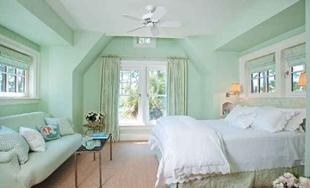 lovely mint green bedroom ideas | mint walls, white linens. Notice how much this room needs ...