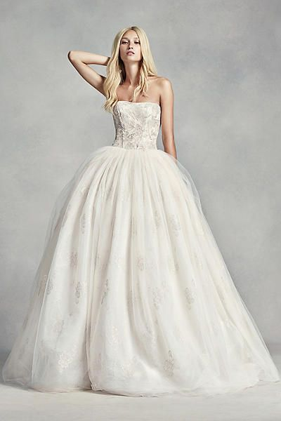White By Vera Wang Tulle Beaded Lace Wedding Dress
