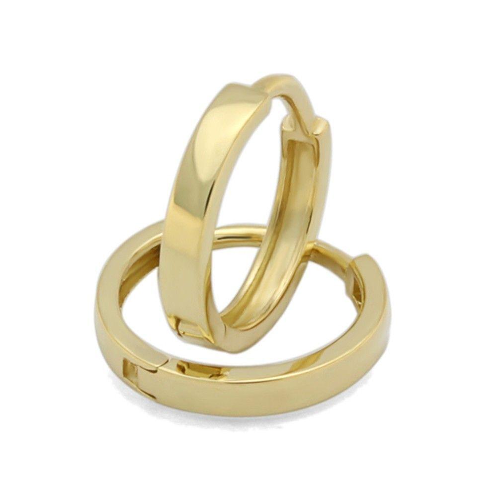 14 Ct Gold Huggie Earrings 2mm Plain Yellow Hoop For Babies And Small Kids Plaingoldjewellery