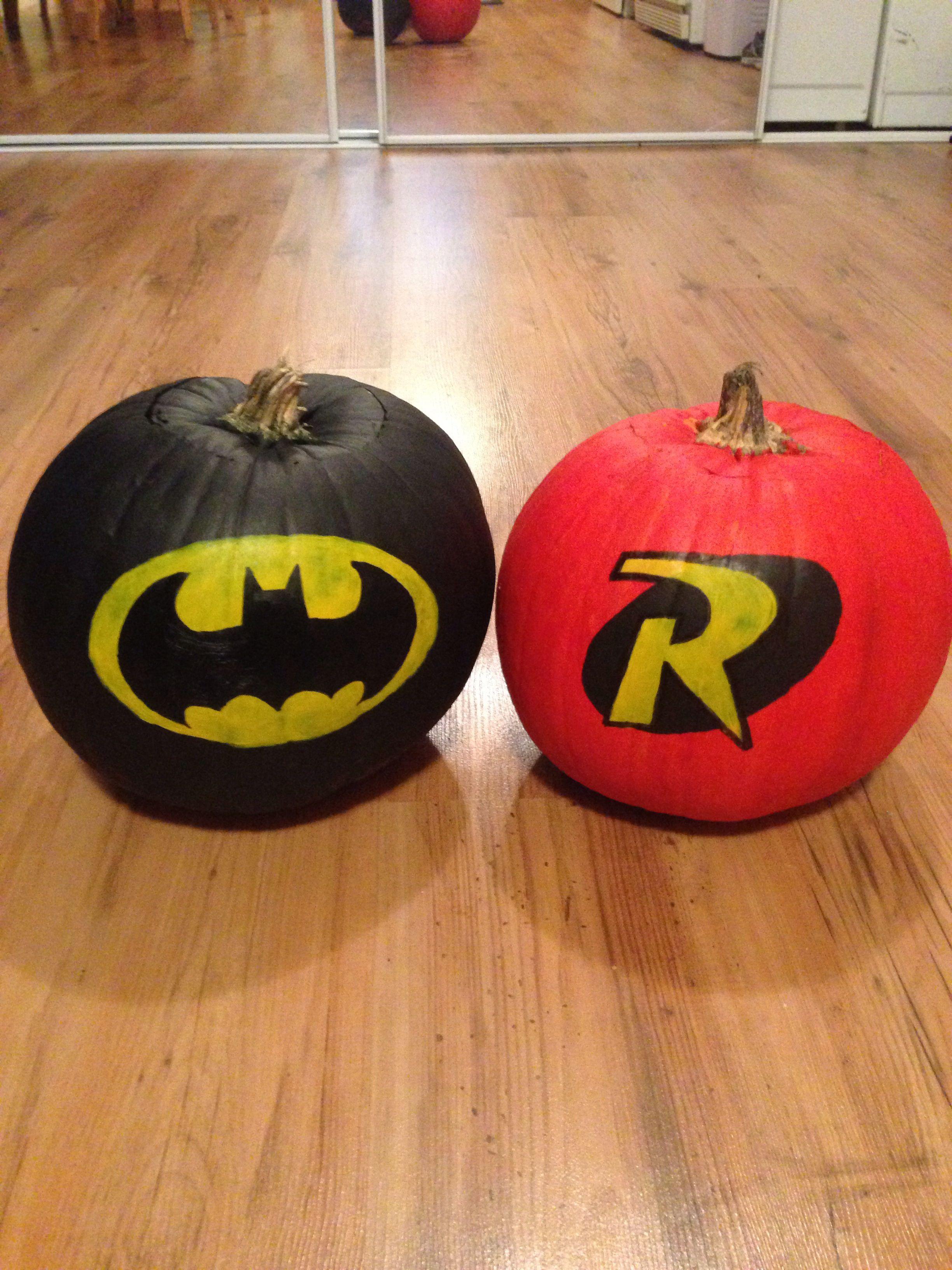 Batman And Robin Pumpkins Batman Pumpkin Pumpkin Halloween