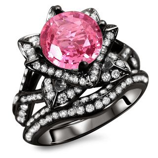 Black Pink Engagement Ring RingsCladdagh