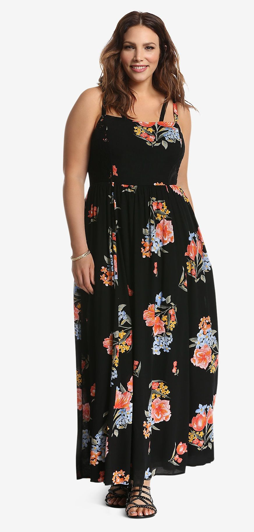 Plus size floral lace inset maxi dress plus size hippie