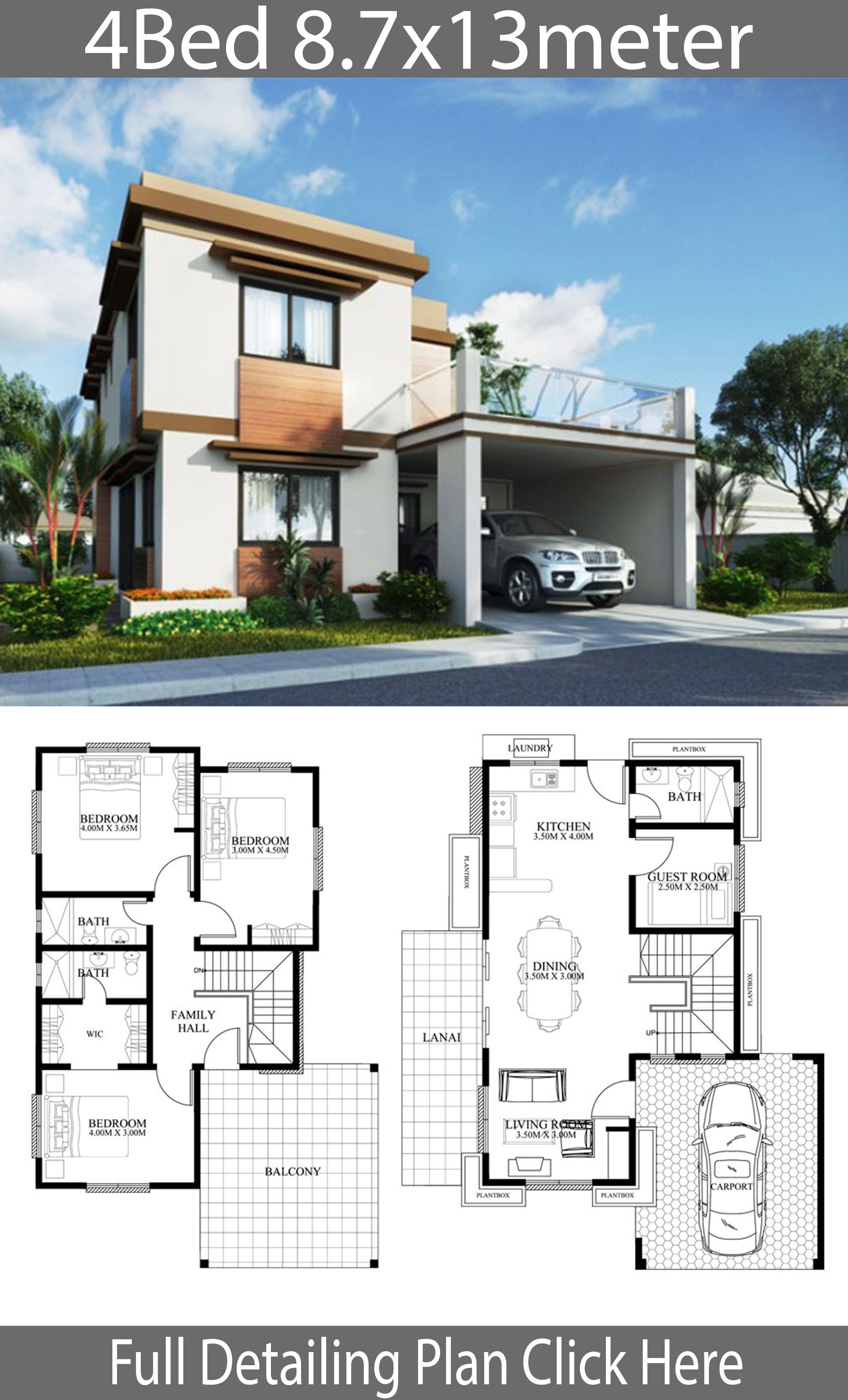 Home Design Plan 8 7x13m With 4 Bedrooms Home Design With Plan Model House Plan House Front Design 2 Storey House Design