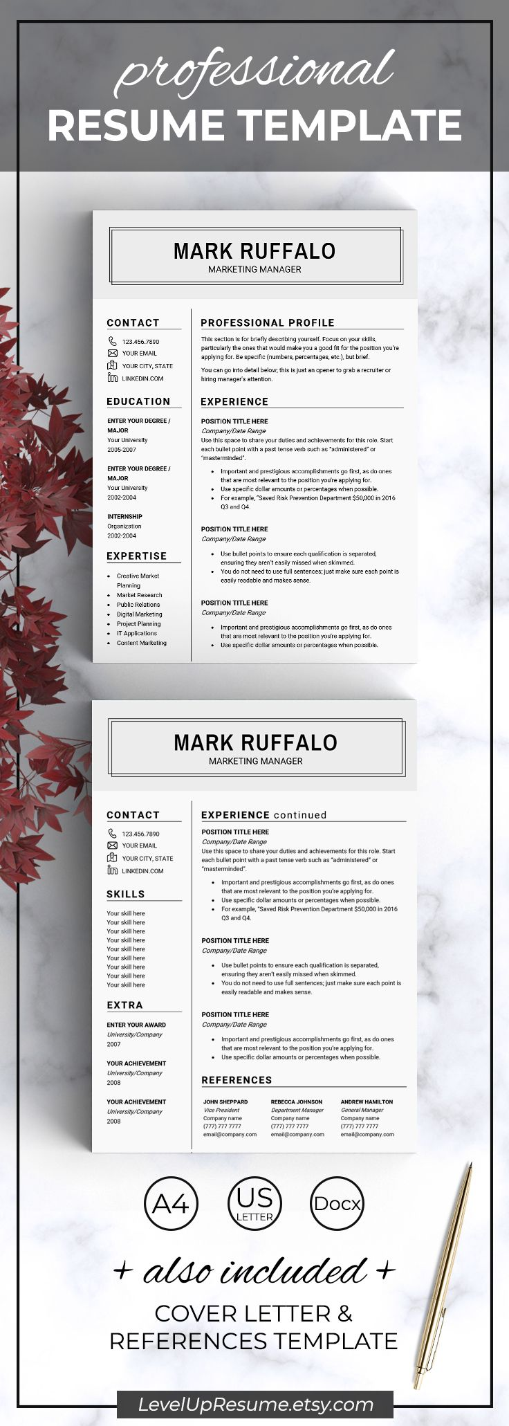 Clean And Minimal Resume Template Professional Resume Design