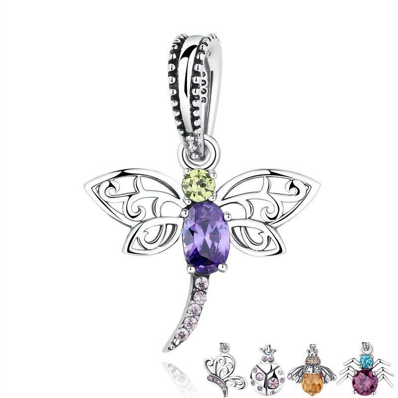 31426c499 925 Sterling Silver Dragonfly Purple Green Crystal Charms Pendant fit  Pandora Bracelets & Necklace DIY Fine