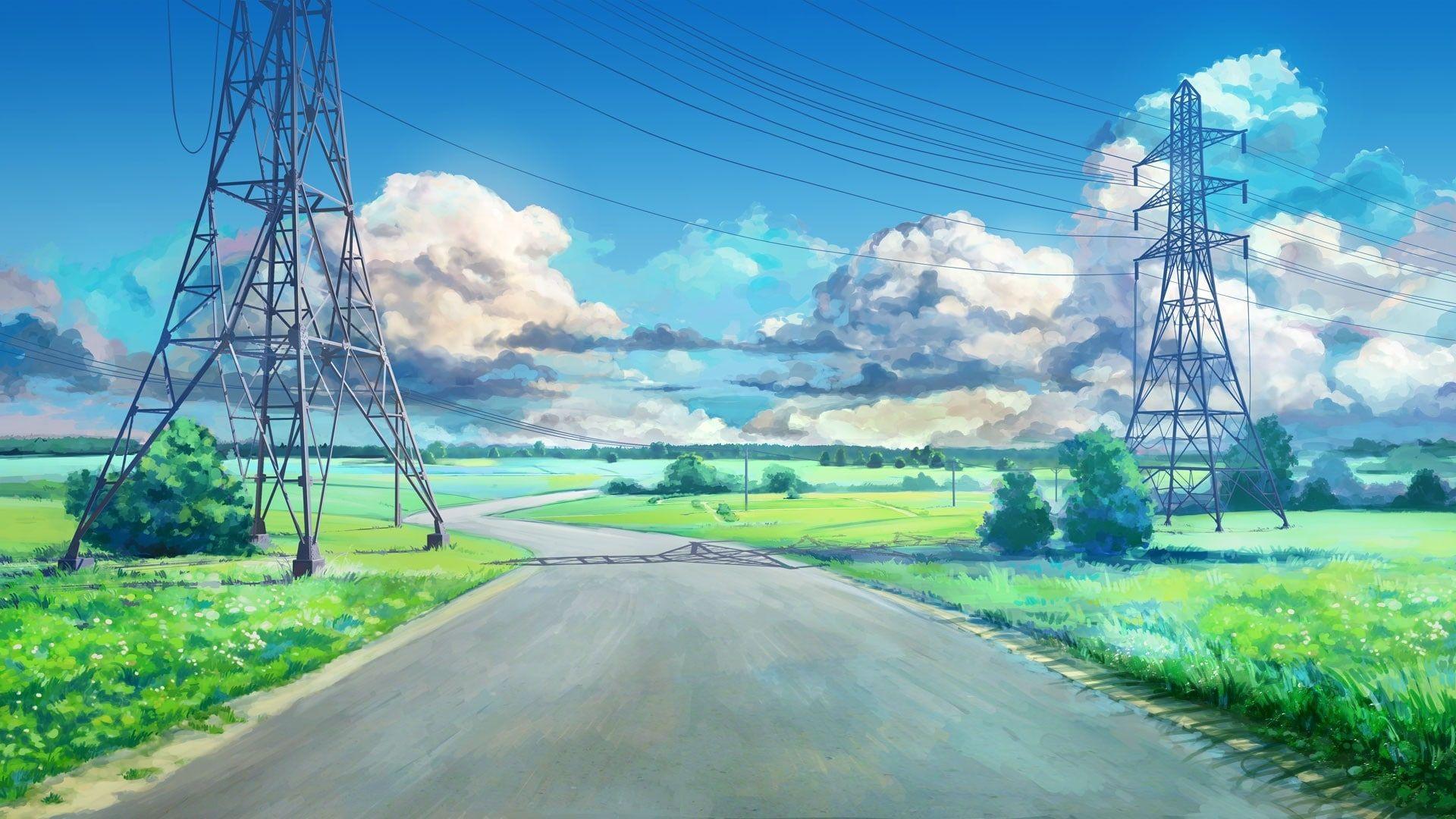 Clouds Blue Green Arsenixc Anime Landscape Road Power Lines Everlasting Summer Utility Pole Visual Novel 1080p Wallp Visual Novel Hd Wallpaper Name Wallpaper