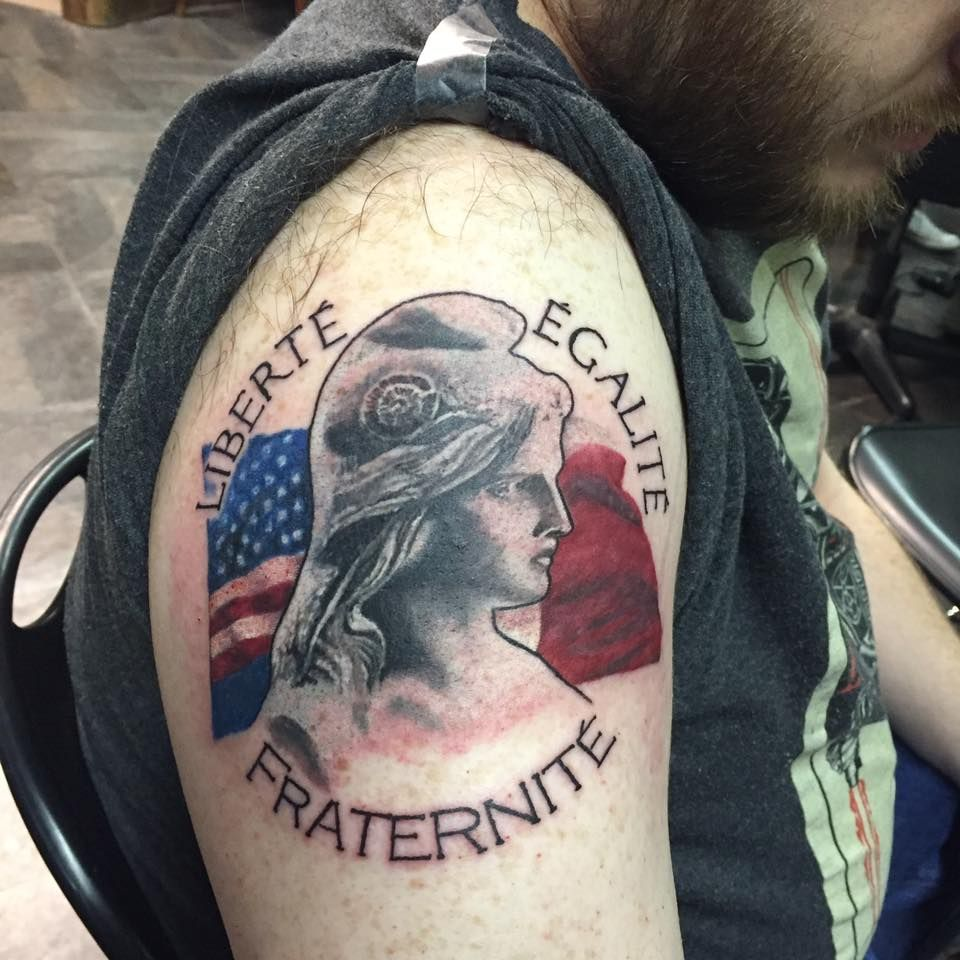 French Tattoo Ideas: French American Flag Motto Marianne Bust Portrait Tattoo