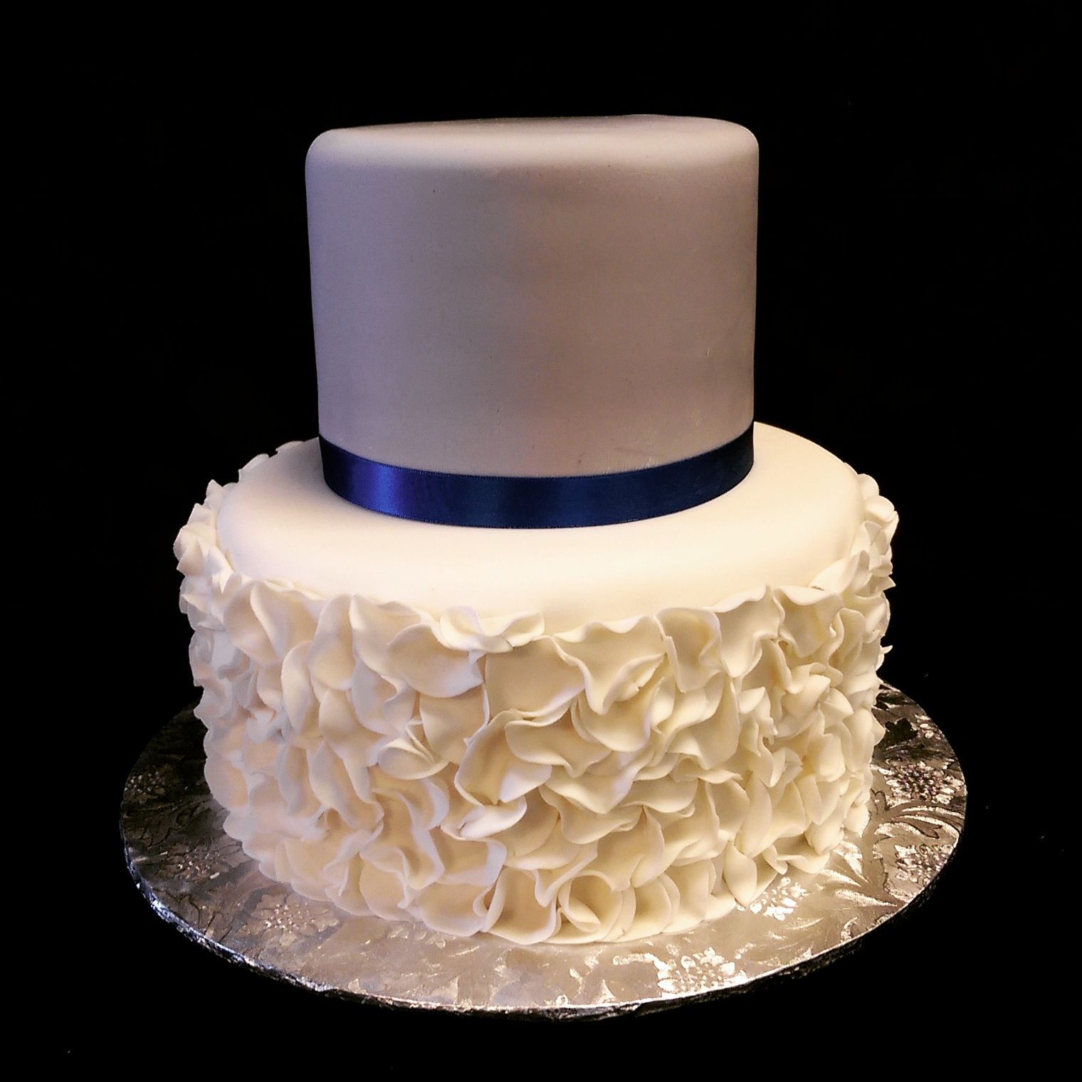 Simple fondant petal ruffle cake Seattle Wedding Cake www