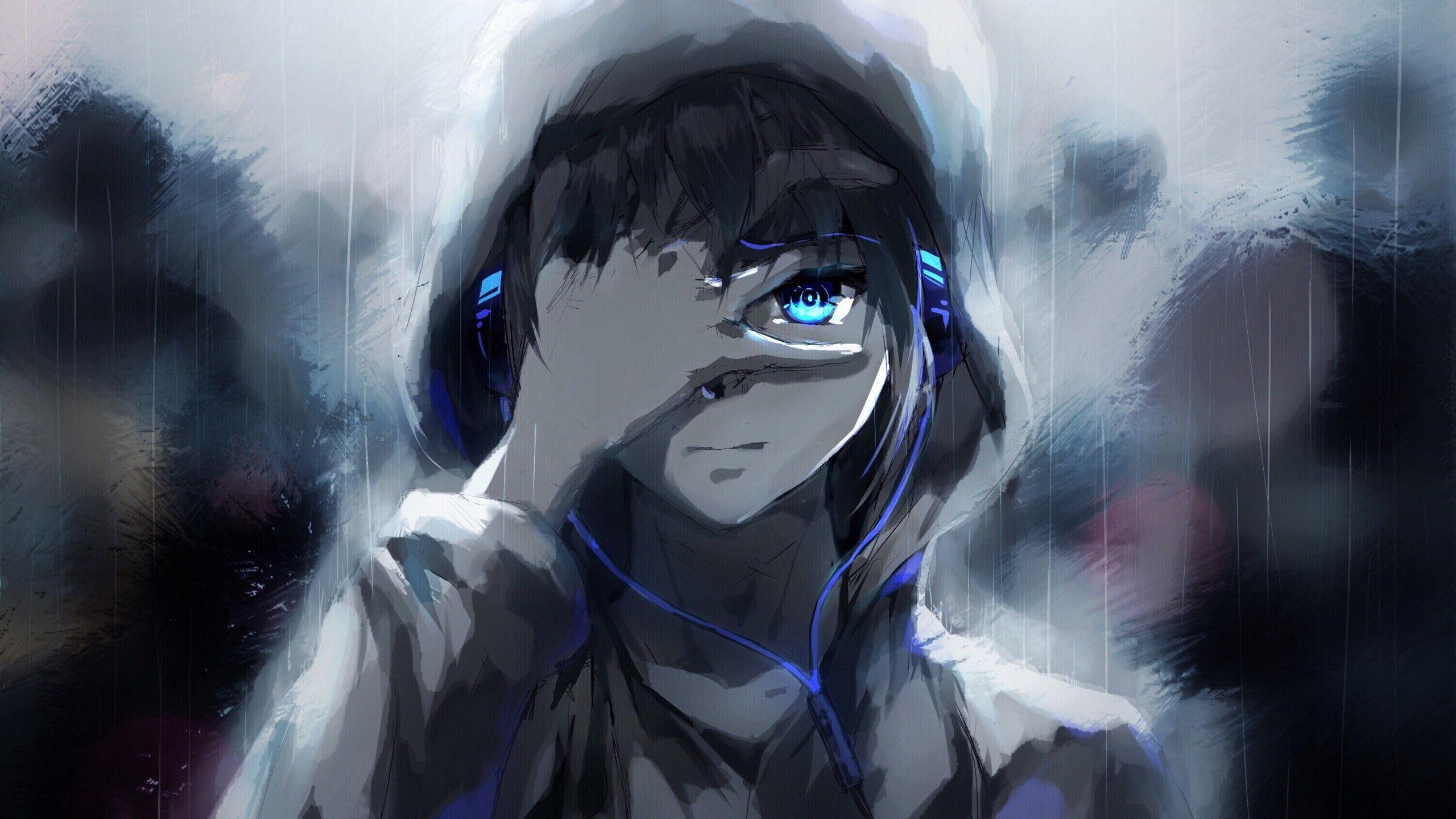 2560x1440 anime boyhoodieblue eyesheadphonespainting wallpapers for imac 27 inch wallpapermaiden