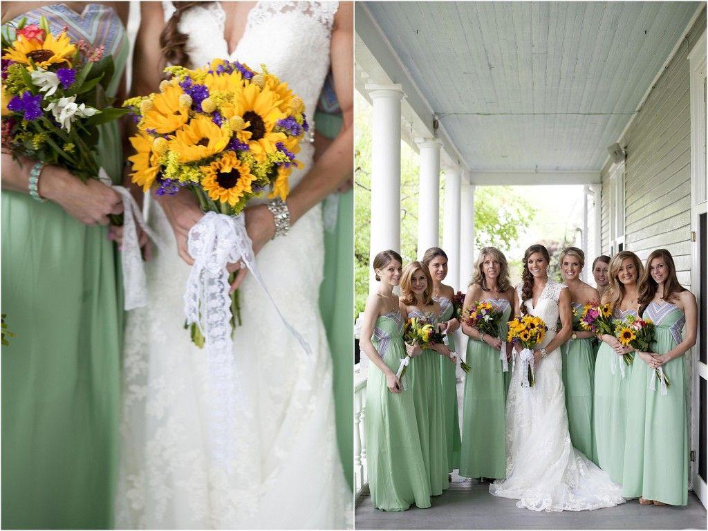 Sunflower Wedding In Georgia Wedding Mint Green Mint Wedding