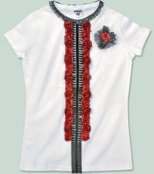 T-Shirt with Flower Trim