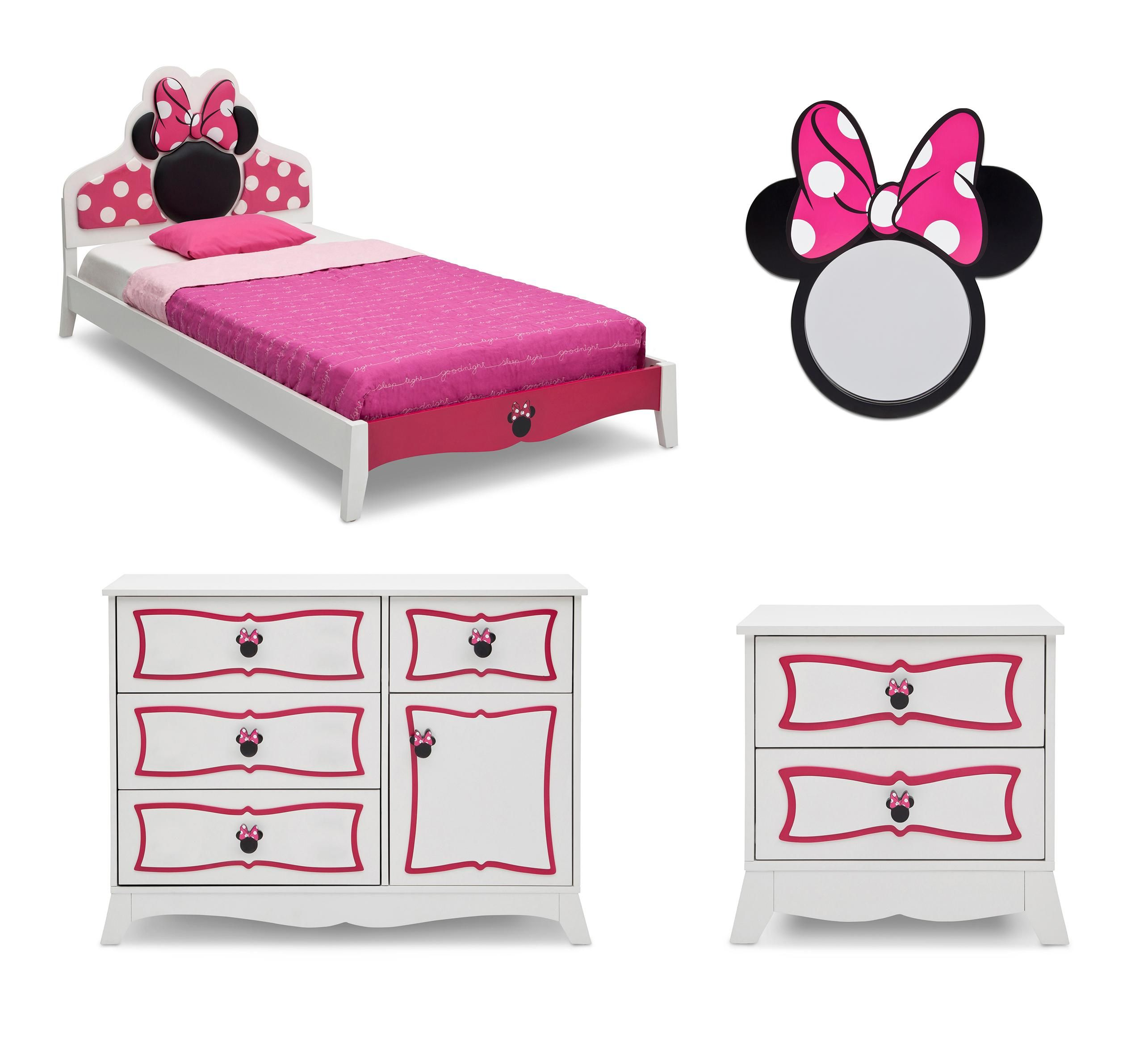 minnie, mouse, disney, bedroom, set, twin, bed, kids, furniture ...
